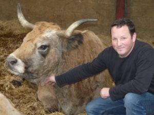 Mathieu Causse avec sa vache Aubrac